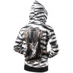cheap Zebra Striped Graphic Cool Zip Up Hoodies for Men