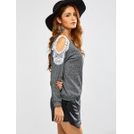 Lacework Splicing Cold Shoulder Sweatshirt deal