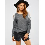 cheap Lacework Splicing Cold Shoulder Sweatshirt