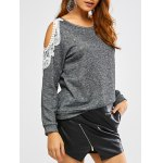 Lacework Splicing Cold Shoulder Sweatshirt