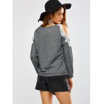Lacework Splicing Cold Shoulder Sweatshirt for sale