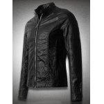 cheap Stand Collar Zippered Faux Leather Jacket