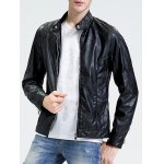 Stand Collar Zippered Faux Leather Jacket photo