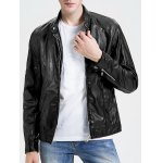 Stand Collar Zippered Faux Leather Jacket for sale