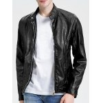 Stand Collar Zippered Faux Leather Jacket deal