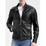 best Stand Collar Zippered Faux Leather Jacket