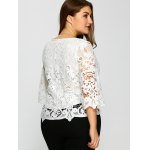 Plus Size Bell Sleeve Sheer Lace Blouse deal
