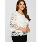 cheap Plus Size Bell Sleeve Sheer Lace Blouse