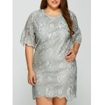 Plus Size Knee Length 1/2 Sleeve Sheer Lace Dress