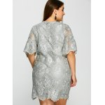 Plus Size Knee Length 1/2 Sleeve Sheer Lace Dress deal