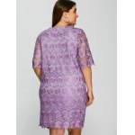 Plus Size Knee Length Openwork Sheer Lace Dress deal