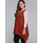 Plus Size Striped Sleeve Asymmetrical T-Shirt deal