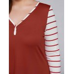 best Plus Size Striped Sleeve Asymmetrical T-Shirt