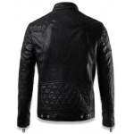 Quilting Insert Zippered Faux Leather Jacket for sale