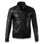 cheap Quilting Insert Zippered Faux Leather Jacket