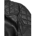 Quilting Insert Zippered Faux Leather Jacket photo