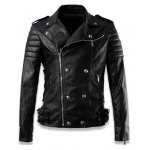 cheap Epaulet Design Zippered Buckled Faux Leather Jacket