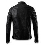 Faux Leather Stand Collar Zip Up Jacket for sale