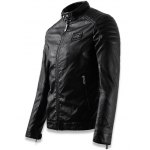 Faux Leather Stand Collar Zip Up Jacket deal