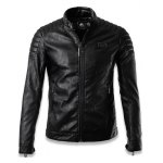 cheap Faux Leather Stand Collar Zip Up Jacket