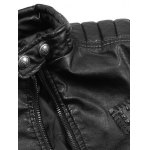 best Faux Leather Stand Collar Zip Up Jacket