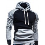 cheap Hooded Color Block Splicing Design Drawstring Black and Grey Hoodie