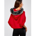 Faux Fur Hooded Knitted Cape Cardigan for sale
