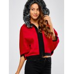 cheap Faux Fur Hooded Knitted Cape Cardigan