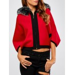 Faux Fur Hooded Knitted Cape Cardigan