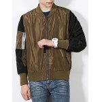 cheap Stand Collar Color Block Spliced Bomber Jacket