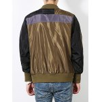 Stand Collar Color Block Spliced Bomber Jacket deal