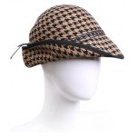 cheap Vintage Houndstooth Layered Rope Winter Hat