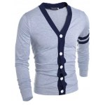 Korean Style V-Neck Color Block Stripes Purfled Design Long Sleeves Cotton Blend Cardigan For Men