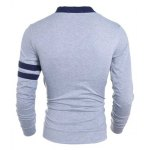 Korean Style V-Neck Color Block Stripes Purfled Design Long Sleeves Cotton Blend Cardigan For Men deal