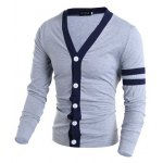 cheap Korean Style V-Neck Color Block Stripes Purfled Design Long Sleeves Cotton Blend Cardigan For Men