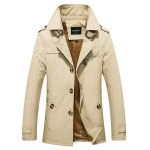 Zip Pocket Epaulet Design Buckled Flocking Jacket