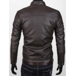 Stand Collar Zipper Up Faux Leather Jacket deal