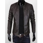 cheap Stand Collar Zipper Up Faux Leather Jacket