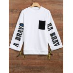 Jewel Neck Side Slit Graphic Sweatshirt