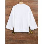 cheap Jewel Neck Side Slit Graphic Sweatshirt