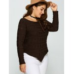 Plus Size Asymmetric Hem Cable Knit Sweater deal