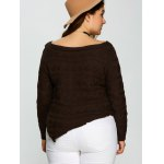 best Plus Size Asymmetric Hem Cable Knit Sweater
