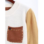 best Jewel Neck Pocket Patched Color Block Sweater
