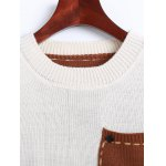 Jewel Neck Pocket Patched Color Block Sweater for sale