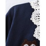 cheap Plus Size Owl Embroidered Lace Crochet Collar Shirt