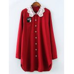 Plus Size Owl Embroidered Lace Crochet Collar Shirt
