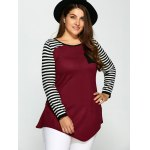 cheap Plus Size One Pocket Asymmetric Striped Sweater