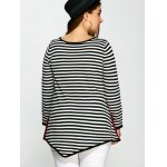 best Plus Size One Pocket Asymmetric Striped Sweater