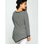 Plus Size One Pocket Asymmetric Striped Sweater for sale