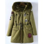 Buy Plus Size Patched Fur Hooded Parka Coat 5XL ARMY GREEN